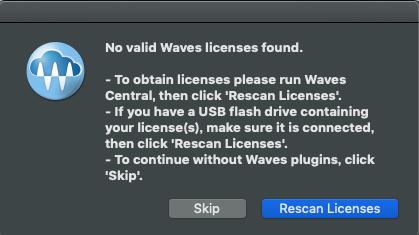 waves ライセンスエラー