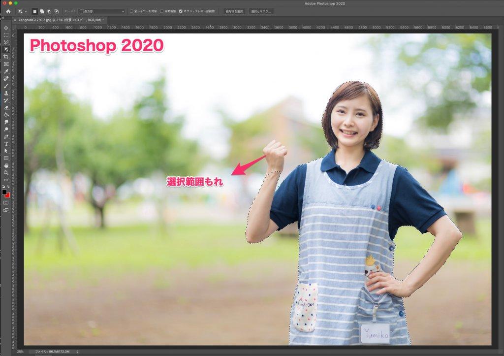 Photoshop 2020 自動選択精度の違い 被写体人物